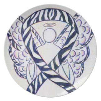 Zebra Stripe Awareness Ribbon Angel Art Plates