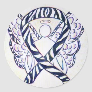 Zebra Stripe Awareness Ribbon Angel Art Stickers
