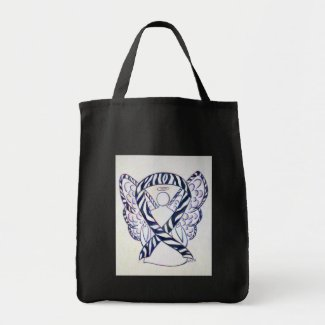 Zebra Stripe Awareness Ribbon Angel Art Tote Bags