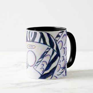 Zebra Stripe Awareness Ribbon Angel Coffee Mugs