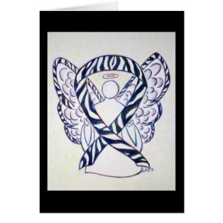 Zebra Stripe Awareness Ribbon Angel Greeting Card