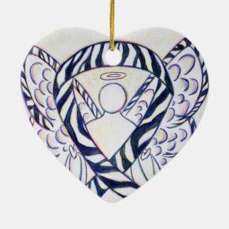 Zebra Stripe Awareness Ribbon Angel Heart Pendant Ceramic Ornament