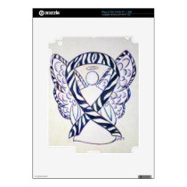 Zebra Stripe Awareness Ribbon Angel iPad 2 Cover iPad 2 Decal