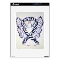 Zebra Stripe Awareness Ribbon Angel iPad Covers Decal For iPad