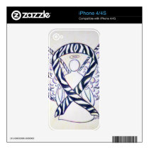 Zebra Stripe Awareness Ribbon Angel iPhone 4 Cover Decal For iPhone 4S