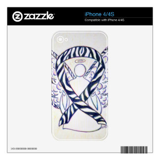 Zebra Stripe Awareness Ribbon Angel iPhone 4 Cover Skins For The iPhone 4S