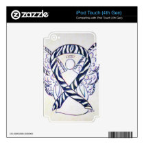 Zebra Stripe Awareness Ribbon Angel iPod Covers Decal For iPod Touch 4G