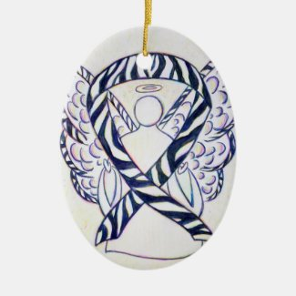 Zebra Stripe Awareness Ribbon Angel Oval Ornaments