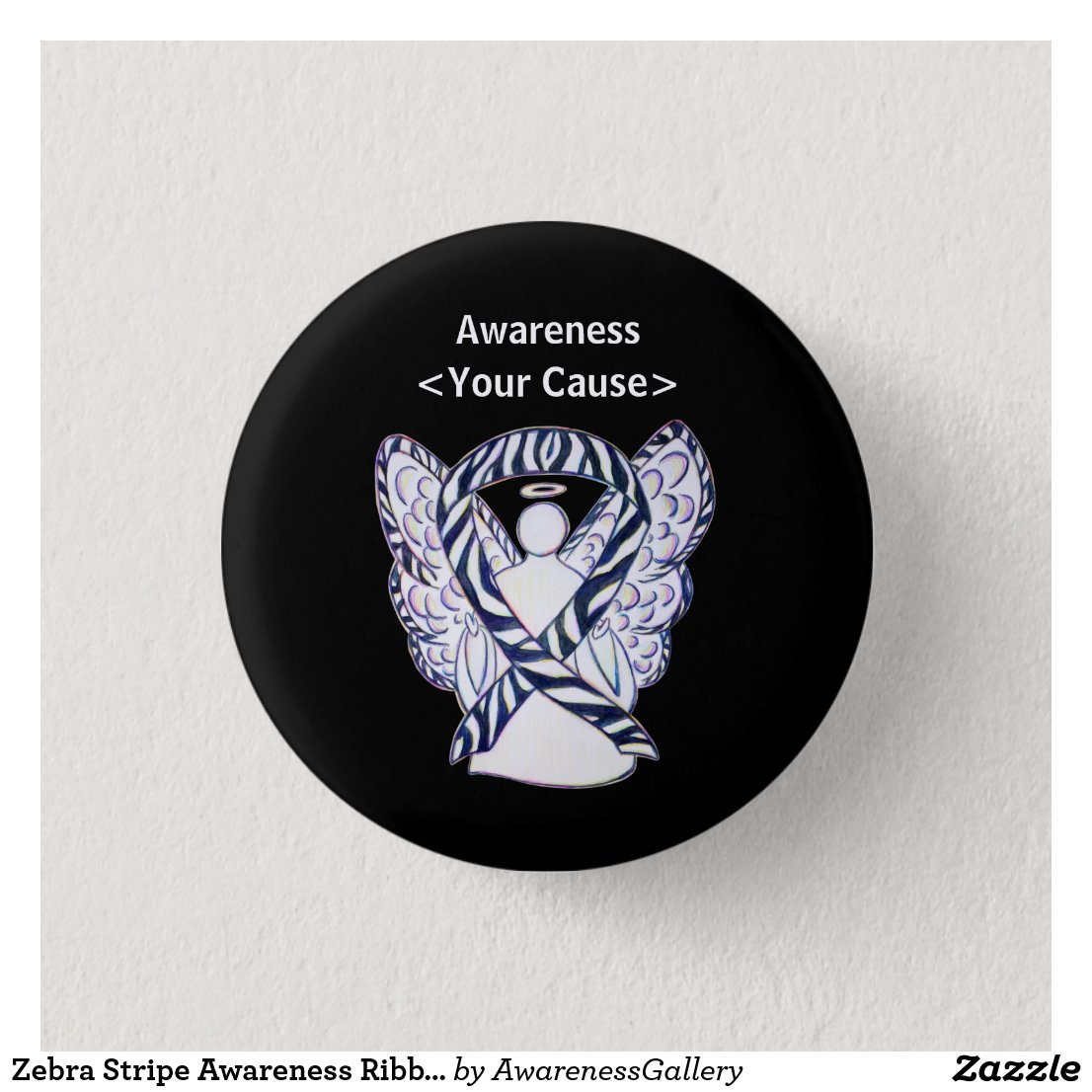 Zebra Stripe Awareness Ribbon Angel Pin Buttons