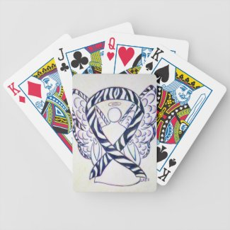 Zebra Stripe Awareness Ribbon Angel Playing Cards