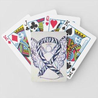 Zebra Stripe Awareness Ribbon Angel Playing Cards