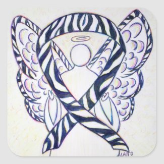 Zebra Stripe Awareness Ribbon Angel Square Decal Square Sticker