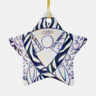 Zebra Stripe Awareness Ribbon Angel Star Ornaments