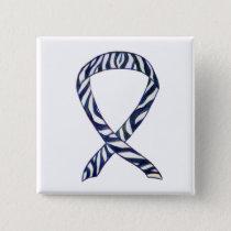 Zebra Stripe Awareness Ribbon Custom Art Button