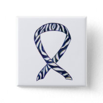 Zebra Stripe Awareness Ribbon Custom Art Button