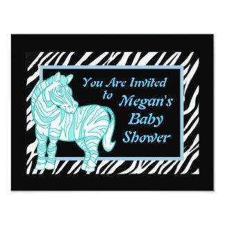 Zebra Stripe Baby Blue Baby Shower Invitation