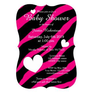 Zebra stripe baby shower invitations with hearts