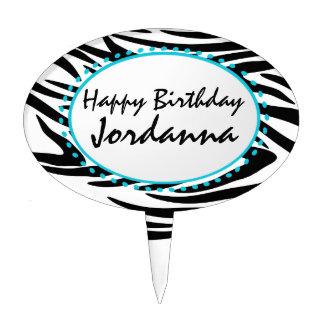 Zebra Stripe Birthday Cake Topper