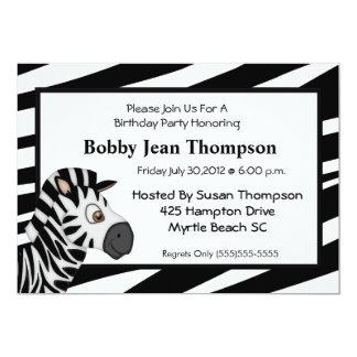 Zebra Stripe Birthday Invitation