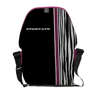 Zebra Stripe Black Pink Racing Stripe Messenger Courier Bag