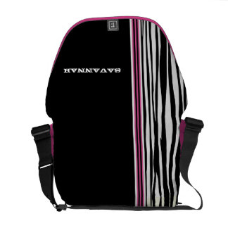 Zebra Stripe Black Pink Racing Stripe Messenger Commuter Bags