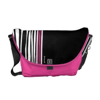 Zebra Stripe Black Pink Racing Stripe Messenger Messenger Bag