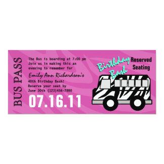 Zebra Stripe Bus Pass Birthday Party 4x9.25 Paper Invitation Card