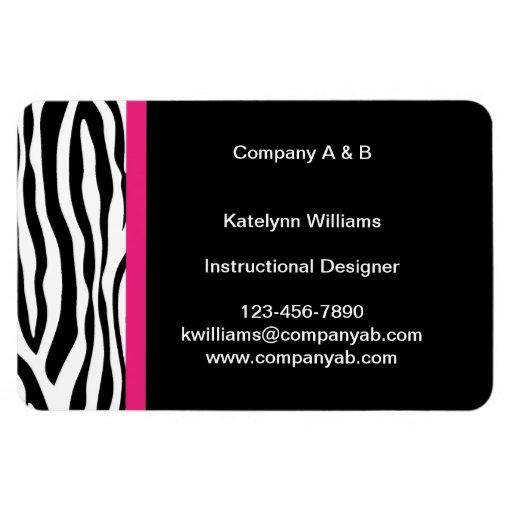 Zebra Stripe Flexible Magnetic Business Cards Vinyl