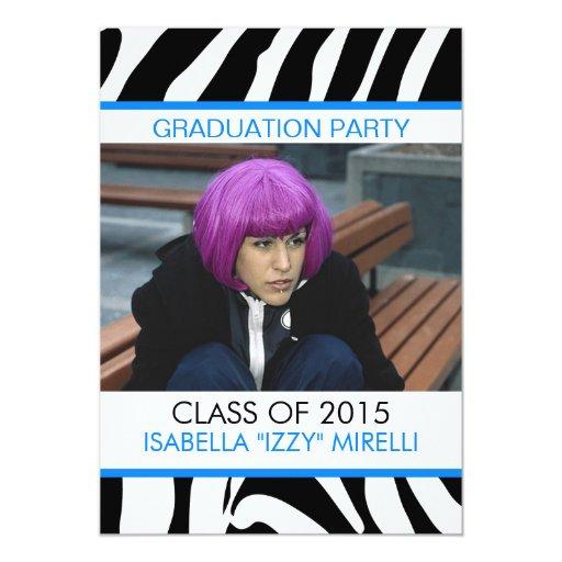 Zebra Stripe Graduation Party Invitation Blue