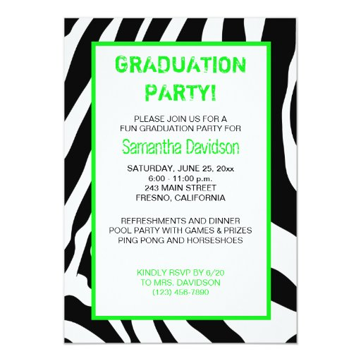 Zebra Stripe Graduation Party Invitation Green