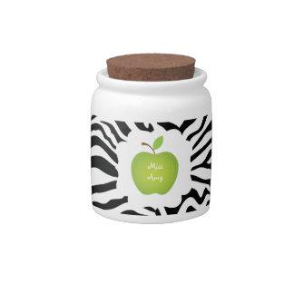 Zebra Stripe-Green Apple Teacher s Candy Jars