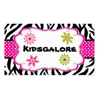Zebra Stripe & Hot Pink Ribbon Business Card