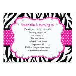 Zebra Stripe & Hot Pink Ribbon Kids Invitation