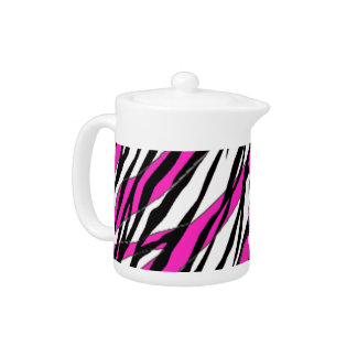 Zebra Stripe Hot Pink Teapot