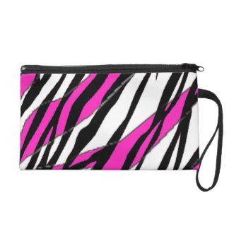 Zebra Stripe Hot Pink Wristlet Purse