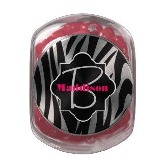 Zebra Stripe Monogram Favor Jelly Belly Candy Jar