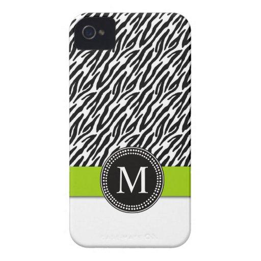 Zebra Stripe Monogram Green iPhone 4 Case