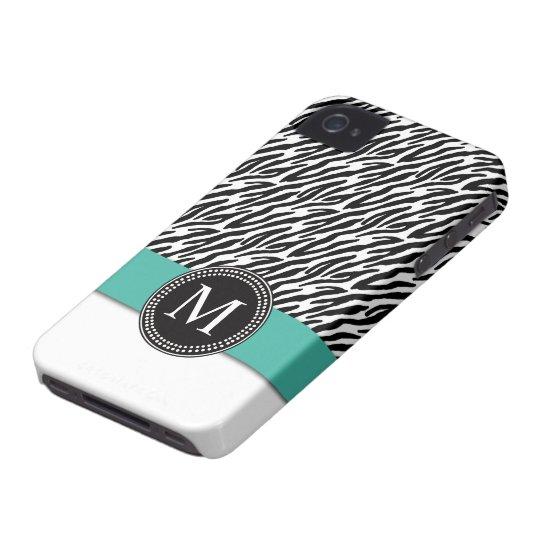Zebra Stripe Monogram Turquoise iPhone 4 Case