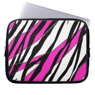 Zebra Stripe  Neon Pink  Stripes Computer Sleeve