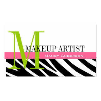 Zebra Stripe Pattern Monogram Make Up Artist Double-Sided Standard Business Cards (Pack Of 100)