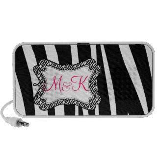 Zebra Stripe Pattern Monograms Wedding Favor Portable Speaker