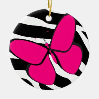 Zebra Stripe Pink Butterfly Ceramic Ornament
