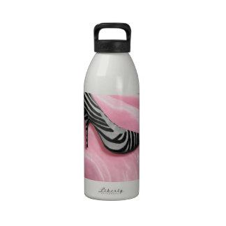Zebra Stripe Pink Silk High Heel Shoe Fashion Water Bottle