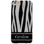 """Zebra Stripe Print """"Add Your Name"""" Barely There iPhone 6 Plus Case"""