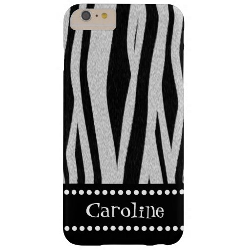 "Zebra Stripe Print ""Add Your Name"" Barely There iPhone 6 Plus Case"