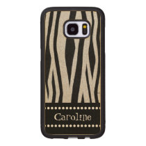 "Zebra Stripe Print ""Add Your Name"" Wood Samsung Galaxy S7 Edge Case"