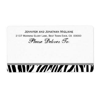Zebra Stripe Themed Wedding Shipping Label
