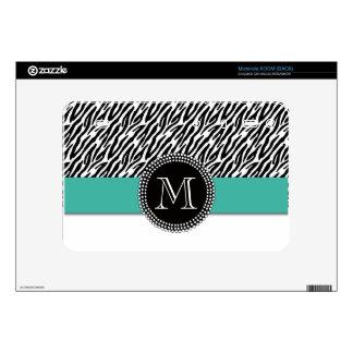 Zebra Stripe Turquoise Monogram Motorola XOOM Skin