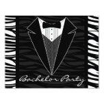 Zebra Stripe Tuxedo Bachelor Party Invitation