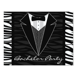Zebra Stripe Tuxedo Bachelor Party Invitation